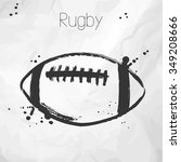 rugby ball.  sketch. vector... | Shutterstock .eps vector #349208666