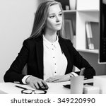 young pretty business woman... | Shutterstock . vector #349220990