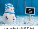 christmas eve date on sign.... | Shutterstock . vector #349241969