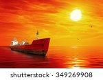 silhouette of the tanker ship... | Shutterstock . vector #349269908
