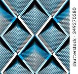 Geometric Blue Stripy Overlay...