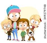 very adorable kids portrait  | Shutterstock .eps vector #349279748