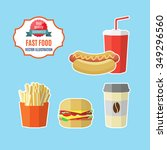 set of vector fast food and... | Shutterstock .eps vector #349296560
