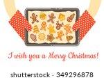 christmas gingerbread cookies ... | Shutterstock .eps vector #349296878