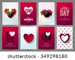 valentine s day backgrounds set.... | Shutterstock .eps vector #349298180