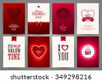 valentine s day backgrounds set.... | Shutterstock .eps vector #349298216