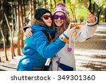 girls in the sport outwear... | Shutterstock . vector #349301360