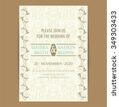 vintage wedding invitation card. | Shutterstock .eps vector #349303433