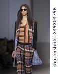 Small photo of Model walks the runway at the Han Ahn Soon fashion show Tokio Runway meets New York during Mercedes Benz Fashion Week Fall 2015 at Lincoln Center on February 18 2015 in New York City