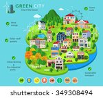set of city buildings and... | Shutterstock .eps vector #349308494