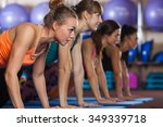 group of four woman at gym push ...   Shutterstock . vector #349339718