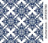 elegant damask wallpaper.... | Shutterstock .eps vector #349358780