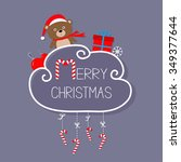 bear in santa hat  giftbox ... | Shutterstock . vector #349377644