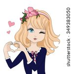 cute girl vector t shirt print... | Shutterstock .eps vector #349383050