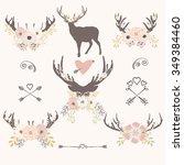 vector deer flower arrow | Shutterstock .eps vector #349384460