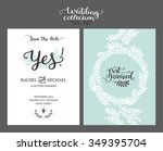save the date card  wedding... | Shutterstock .eps vector #349395704
