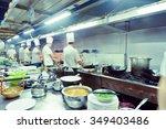 motion chefs of a restaurant...   Shutterstock . vector #349403486