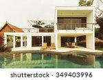 luxury villa with swimming pool | Shutterstock . vector #349403996