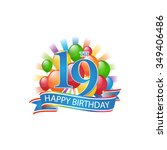 19th colorful happy birthday... | Shutterstock .eps vector #349406486