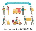 courier and delivery set.... | Shutterstock .eps vector #349408154