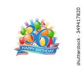 36th colorful happy birthday...   Shutterstock .eps vector #349417820