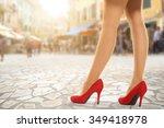 woman legs on street  | Shutterstock . vector #349418978