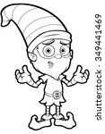 old elf character in black and... | Shutterstock .eps vector #349441469