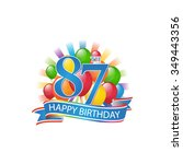 87th colorful happy birthday...   Shutterstock .eps vector #349443356