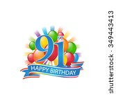 91st colorful happy birthday... | Shutterstock .eps vector #349443413