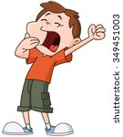 kid yawning and stretching | Shutterstock .eps vector #349451003