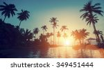 beautiful sunset on a tropical... | Shutterstock . vector #349451444