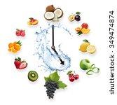 clock arranged from healthy... | Shutterstock . vector #349474874