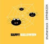 simple happy halloween card... | Shutterstock .eps vector #349484204