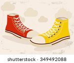 yellow and red shoes on light... | Shutterstock .eps vector #349492088