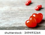 Two Red Hearts On The Wooden...