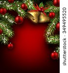 christmas red background with... | Shutterstock .eps vector #349495520