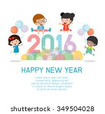 happy new year 2016  colorful... | Shutterstock .eps vector #349504028
