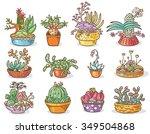 set of succulent compositions... | Shutterstock .eps vector #349504868