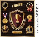 trophy and awards golden badges ...