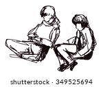 instant sketch  figures of... | Shutterstock . vector #349525694