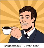 smile man with cup of tea pop... | Shutterstock .eps vector #349545254