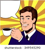 smile man with cup of coffee... | Shutterstock .eps vector #349545290