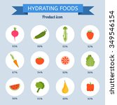 hydrating foods set | Shutterstock .eps vector #349546154