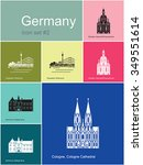landmarks of germany. set of... | Shutterstock .eps vector #349551614