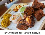 ribs into pieces on a wooden... | Shutterstock . vector #349558826