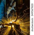 welding robots movement in a... | Shutterstock . vector #349567820