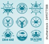 seafood set of vector labels ... | Shutterstock .eps vector #349577588