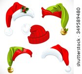 new year santa and elf hats... | Shutterstock .eps vector #349589480
