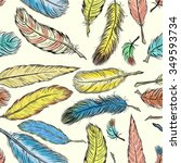 seamless pattern with feathers... | Shutterstock .eps vector #349593734