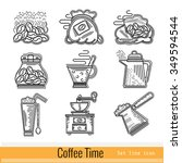 set of outline web icon. coffee ...